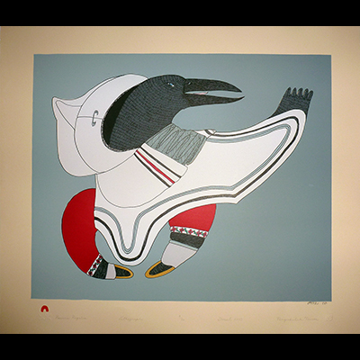 Inuit Art, Cape Dorset, cape dorset prints 2015, Teevee, Ningeokuluk, Raven's Regalia
