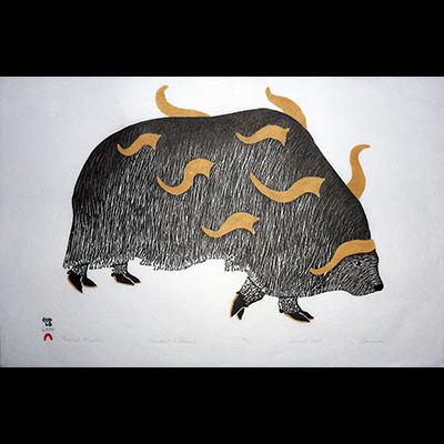 Inuit Art, Cape Dorset, cape dorset prints 2015, Manumie, Qavavau, Horned Muskox
