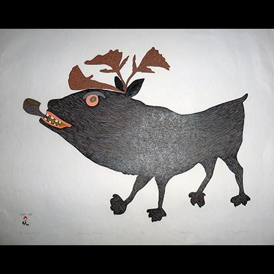 Inuit Art, Cape Dorset, cape dorset prints 2015, Tukiki, Papiara, Smoking Caribou